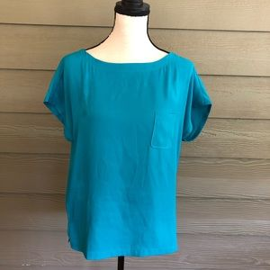 Ann Taylor Loft Blouse Tunic Small Shirt Top Blue